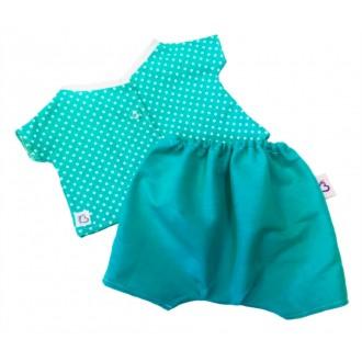 Костюм изумрудные штанишки и рубашка в горох для игрушек 22 см