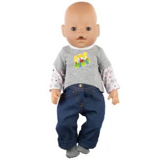 """Одежда для кукол Baby Born р. 38-43 см """"Комплект: джинсы, носочки, джемпер"""""""