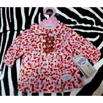 Пальто с клубничками для куклы Baby Born