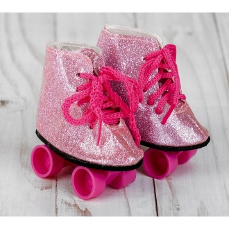 """Ролики для игрушек 25-30 см """"Блёстки"""", длина подошвы: 8 см, цвет розовый"""