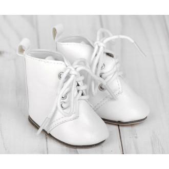 Ботинки для игрушек на завязках, длина подошвы: 7 см, цвет белый