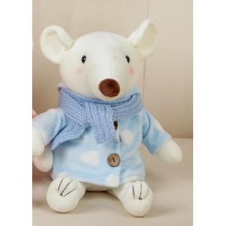 """Мягкая игрушка """"Белый мышонок в пальто"""" 25 см"""