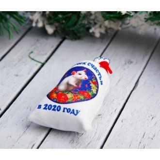Магнит «Мешочек счастья в 2020 году», крыска в цветах, 6×8,5 см