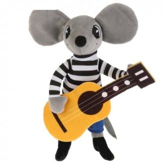 Мягкая игрушка «Мышонок с гитарой» 23 см, звуковые эффекты