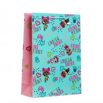 Пакет подарочный LOL, 250х350х100 мм, цвет мятно-розовый