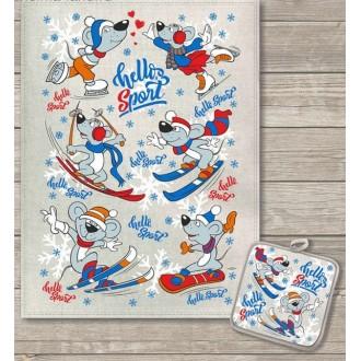 Кухонный набор Лыжники полотенце 45х60 см, прихватка 18х18 см, полулен