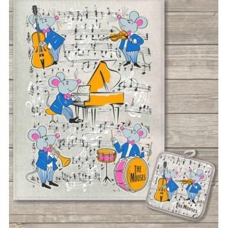 Кухонный набор Музыканты полотенце 45х60 см, прихватка 18х18 см, полулен