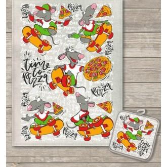 Кухонный набор День пиццы полотенце 45х60 см, прихватка 18х18 см, полулен