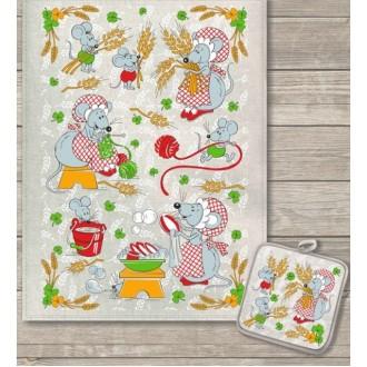 Кухонный набор Колоски полотенце 45х60 см, прихватка 18х18 см, полулен
