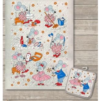 Кухонный набор Мышкин день полотенце 45х60 см, прихватка 18х18 см, полулен