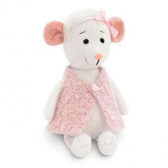 Белая мышка Зефирка в розовой жилетке (15 см)