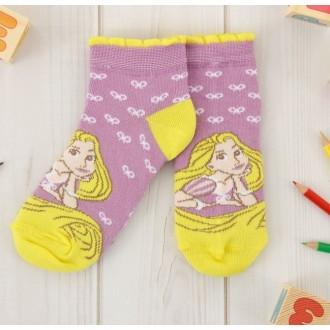 """Носки детские короткие """"Принцессы: Рапунцель"""", 16-18 см, 4-6 лет, 80% хлопок, 17% полиамид, 3% эластан"""