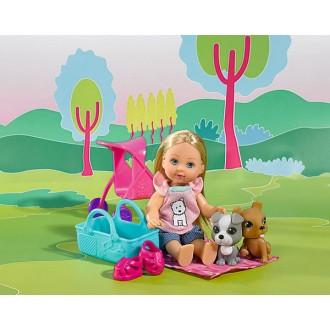Кукла Эви с двумя собачками и коляской, 12 см