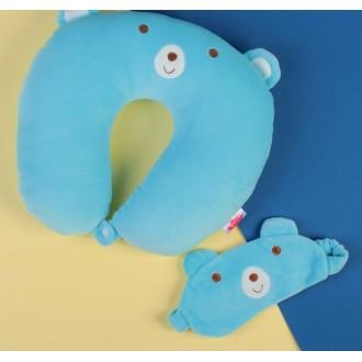"""Антистресс-подголовник """"Мишка"""" с маской для сна, голубой цвет"""