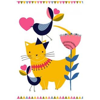 Открытка с конвертом Кошка и птичка