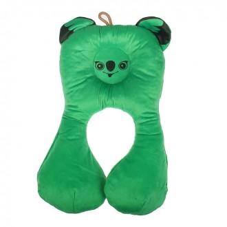 Подушка дорожная детская «Коала», цвет зелёный