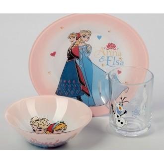 """Набор посуды """"Холодное сердце"""", 3 предмета: кружка 250 мл, салатник 320 мл 14 см, тарелка 19,5 см"""