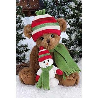 Мишка в шапочке и шарфе со снеговиком(36см)
