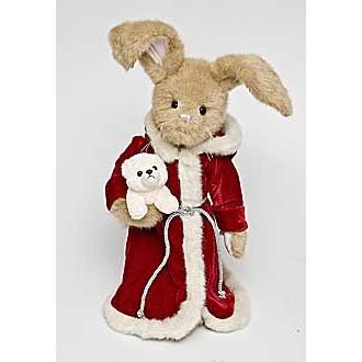 Заяц Дед Мороз с песиком (41 см)