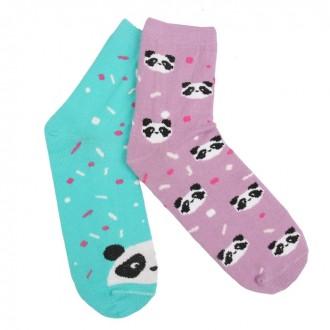 """Набор носков женских """"Панда"""" (2 пары), размер 36-39 (23-25 см)"""