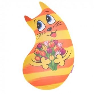 """Мягкая игрушка-антистресс """"Котик"""" желтый (40 см)"""