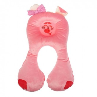 Подушка дорожная детская «Свинка», цвет розовый (под заказ)