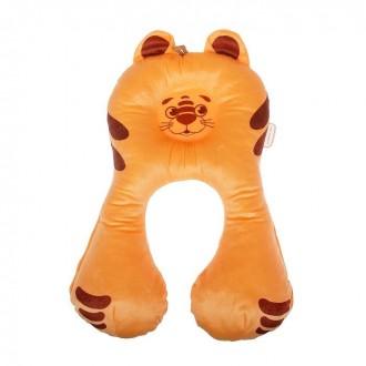 Подушка дорожная детская «Тигрёнок», цвет оранжевый (под заказ)
