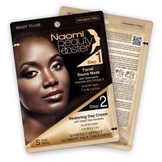 Комплексный уход за лицом: маска с эффектом сауны, 7 мл. и дневной крем с коллагеном, 3 мл. «NAOMI»