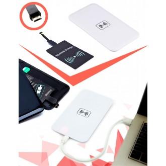 Аккумулятор беспроводной плоский для смартфонов с Micro USB разъемом, белый