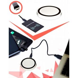 Аккумулятор беспроводной круглый для смартфонов с Micro USB разъемом, белый