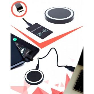 Аккумулятор беспроводной круглый для смартфонов с Micro USB разъемом, черный
