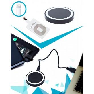 Аккумулятор беспроводной круглый для смартфонов с Lightning разъемом, черный