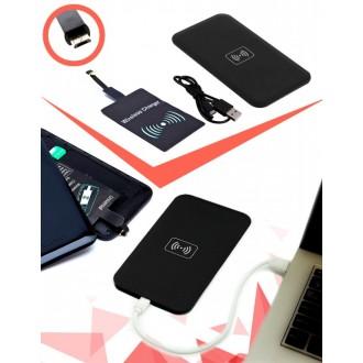 Аккумулятор беспроводной плоский для смартфонов с Micro USB разъемом, черный
