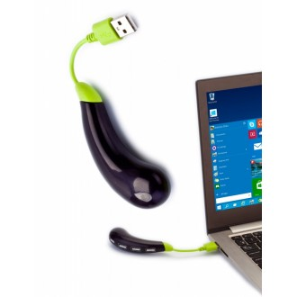 Разветвитель USB «БАКЛАЖАН», темно-фиолетовый