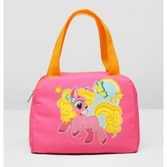 """Сумка детская на молнии """"Лошадка"""", 1 отдел, наружный карман, цвет розовый/жёлтый 22*18 см"""