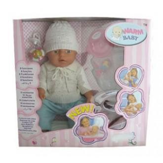 Кукла пупс Warm Baby с аксессуарами (8 функций), 43 см