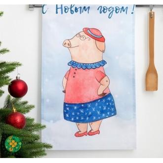 """Полотенце кухонное """"Этель"""" """"С Новым годом, бабуля!"""" (вид2) 34х58 см, 100% хл, репс"""