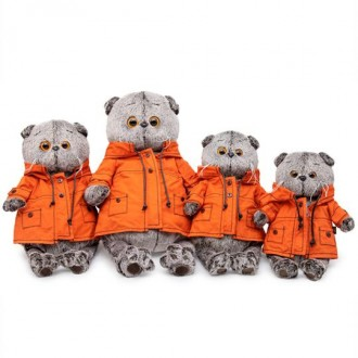 Кот Басик в куртке с капюшоном (22 см)