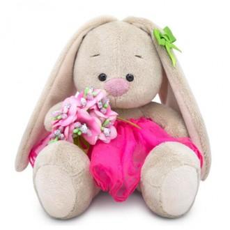 Зайка Ми c букетом в розовой юбке (малыш) 15 см