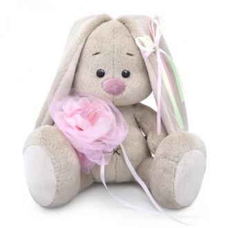 Зайка Ми c розовым цветком (малыш) 15 см