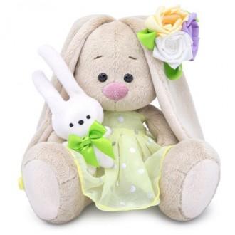 Зайка Ми с зайчиком и нарядным цветком (малыш) 15 см