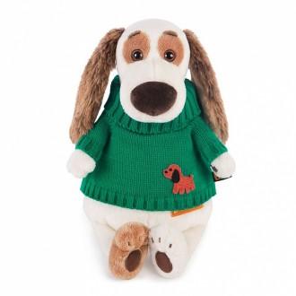 Пес Бартоломей в зеленом свитере (27 см)