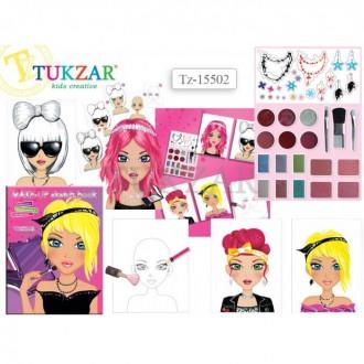 Альбом для детского творчества с косметикой и наклейками ЮНЫЙ ВИЗАЖИСТ Tukzar