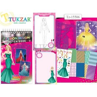 Альбом для творчества TUKZAR ВЕЧЕРНИЕ ПЛАТЬЯ с трафаретами и наклейками
