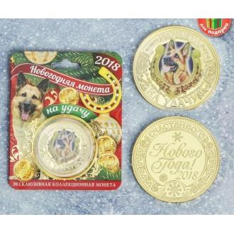 """Новогодняя подарочная монета """"На удачу"""" (4 см)"""