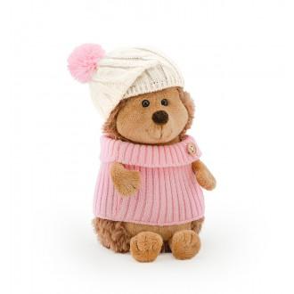 Ежинка Колючка в шапке с розовым помпоном (в коробке) 15 см
