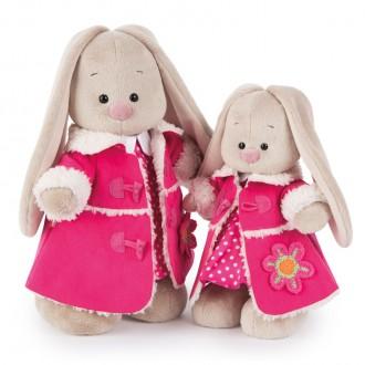 Зайка Ми в платье и розовой дубленке (32 см)