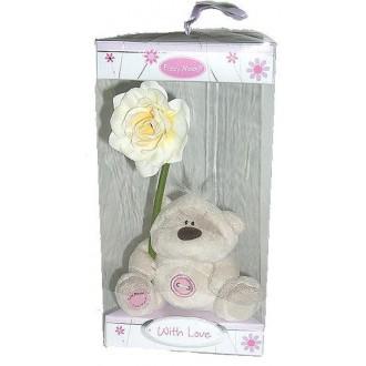 Мишка с цветочком в коробочке(9см)