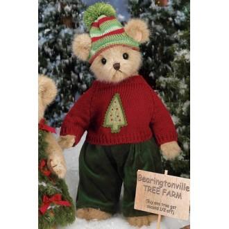 Мишка в вязаном свитере с елочкой(36 см)