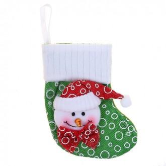 Носок для подарков 16*13 см снеговик в бабочке